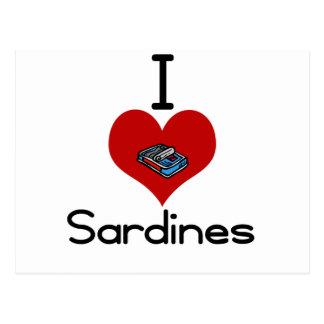 I heart-love sardines postcard