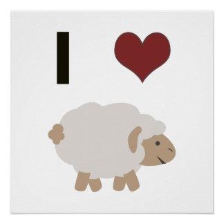 I heart (love) sheep poster