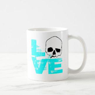 I heart love skull coffee mug