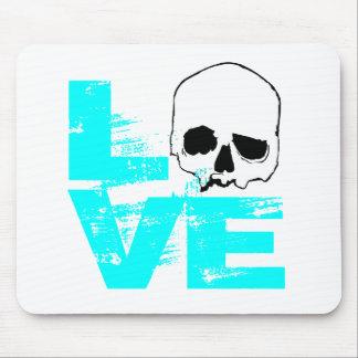 I heart love skull mouse pad