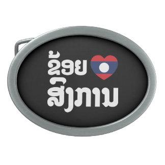 I Heart (Love) Songkan Laotian Language Belt Buckle