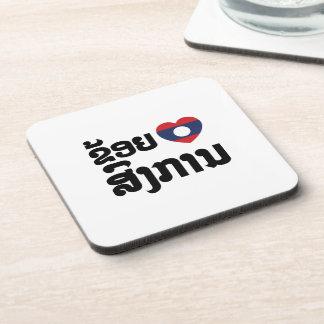 I Heart (Love) Songkan Laotian Language Beverage Coaster