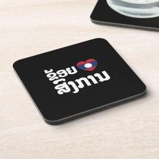 I Heart (Love) Songkan Laotian Language Coaster