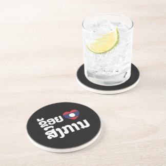 I Heart (Love) Songkan Laotian Language Drink Coaster