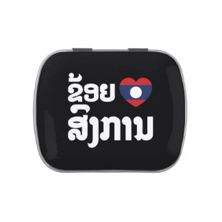 I Heart (Love) Songkan Laotian Language Jelly Belly Tins