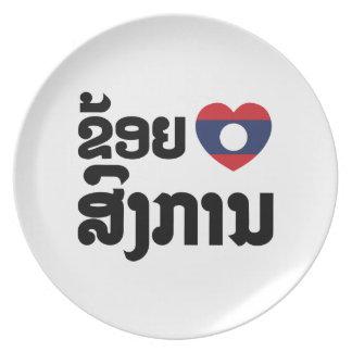 I Heart (Love) Songkan Laotian Language Melamine Plate