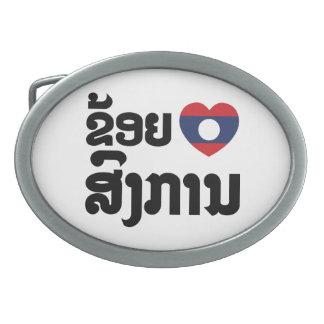 I Heart (Love) Songkan Laotian Language Oval Belt Buckle