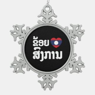 I Heart (Love) Songkan Laotian Language Snowflake Pewter Christmas Ornament