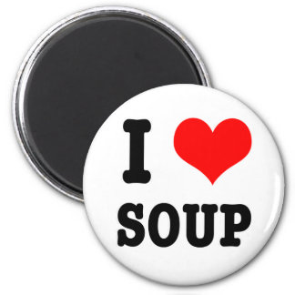 I HEART (LOVE) SOUP 2 INCH ROUND MAGNET