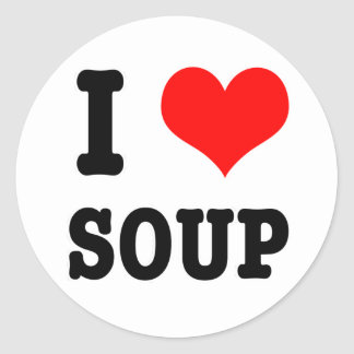 I HEART (LOVE) SOUP ROUND STICKERS