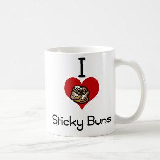 I heart-love sticky buns coffee mug