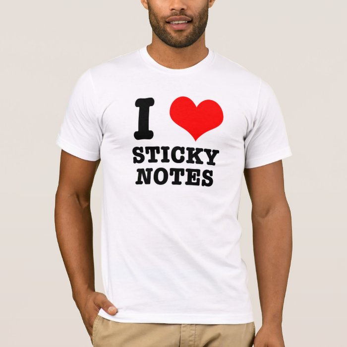I heart love sticky notes t shirt zazzle for Love notes brand shirt
