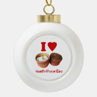 I Heart [Love] Sticky Rice [Khao Niao] - Thai Isan Ceramic Ball Christmas Ornament