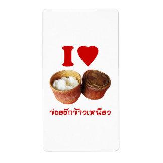 I Heart [Love] Sticky Rice [Khao Niao] - Thai Isan Shipping Labels