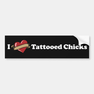 I Heart (Love) Tattooed Chicks Bumper Sticker