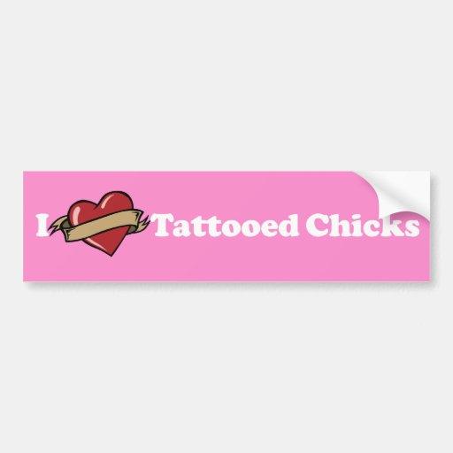 I Heart (Love) Tattooed Chicks Pink Bumper Sticker