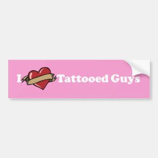 I Heart (Love) Tattooed Guys Black Bumper Sticker. Bumper Sticker