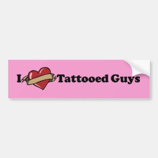 I Heart (Love) Tattooed Guys Pink Bumper Sticker