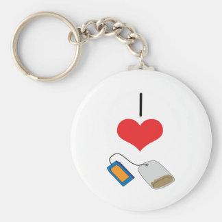 I Heart (Love) Tea Bags  Keychain