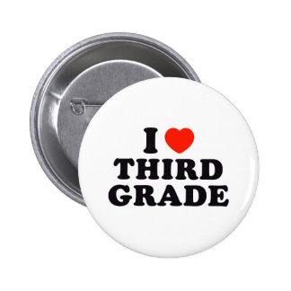 I Heart / Love Third Grade Pinback Buttons