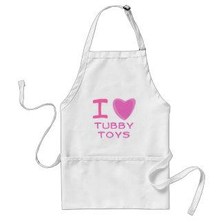 I Heart (Love) tubby toys Adult Apron