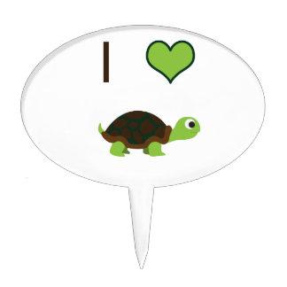 I heart love Turtles Cake Picks