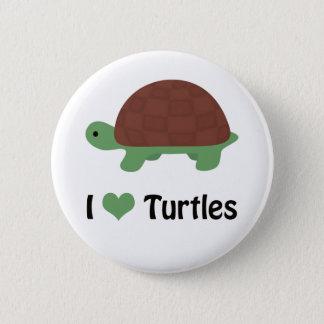 I heart (love) turtles pinback button