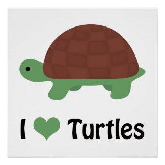 I heart (love) turtles poster