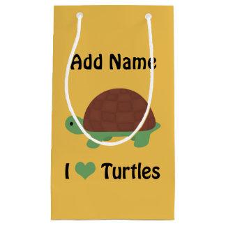I heart (love) turtles small gift bag