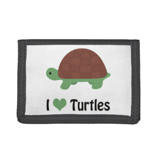 I heart (love) turtles trifold wallet