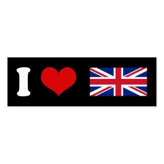 I Heart Love UK British Union Jack Flag Business Card Templates
