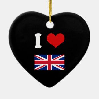 I Heart Love UK British Union Jack Flag Ceramic Ornament