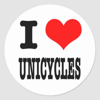 I HEART (LOVE) UNICYCLES CLASSIC ROUND STICKER