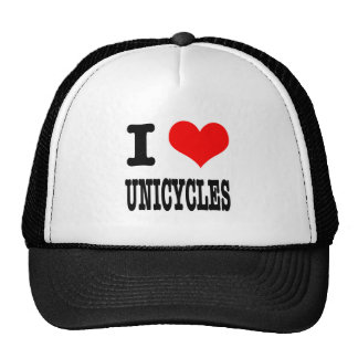 I HEART (LOVE) UNICYCLES TRUCKER HAT