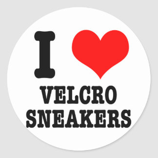 I HEART (LOVE) velcro sneakers Classic Round Sticker