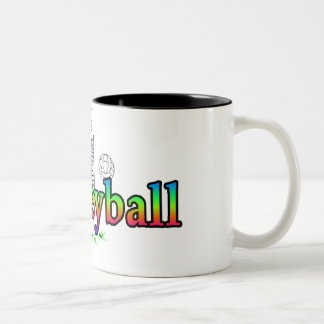 I Heart Love Volleyball Two-Tone Coffee Mug