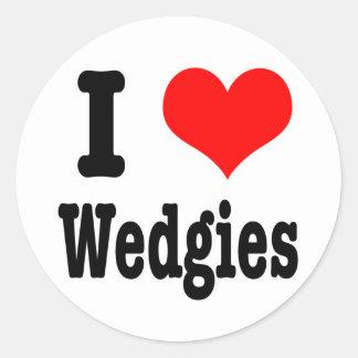 I HEART (LOVE) wedgies Classic Round Sticker