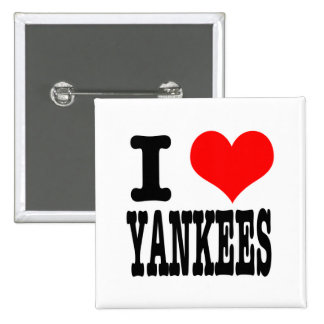 I HEART (LOVE) YANKEES PINBACK BUTTONS