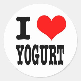 I HEART (LOVE) YOGURT CLASSIC ROUND STICKER