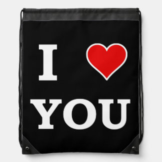 I Heart Love You Drawstring Bag