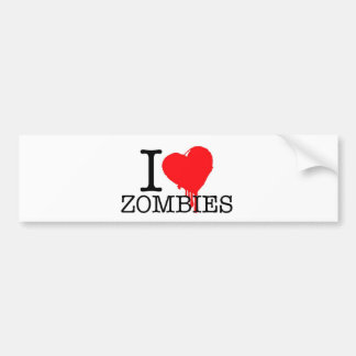 I HEART LOVE ZOMBIES BUMPER STICKER