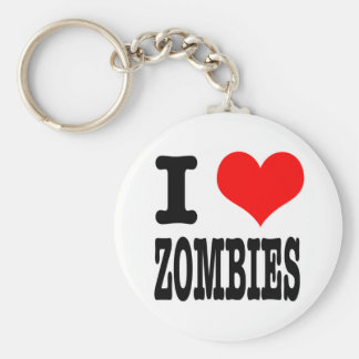 I HEART (LOVE) ZOMBIES BASIC ROUND BUTTON KEYCHAIN