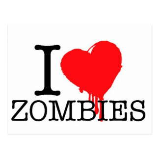 I HEART LOVE ZOMBIES POST CARDS