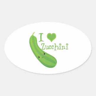 I Heart (love) Zucchini Oval Stickers