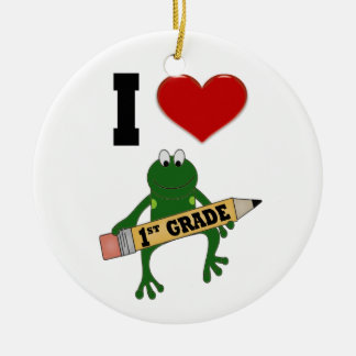 I Heart lst Grade Frog Double-Sided Ceramic Round Christmas Ornament