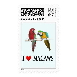 "I ""heart"" macaws postage"