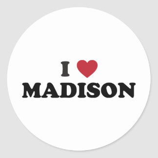 I Heart Madison Wisconsin Classic Round Sticker