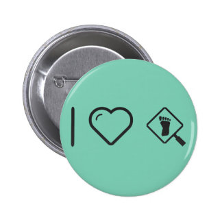I Heart Magnifying Footprints 2 Inch Round Button