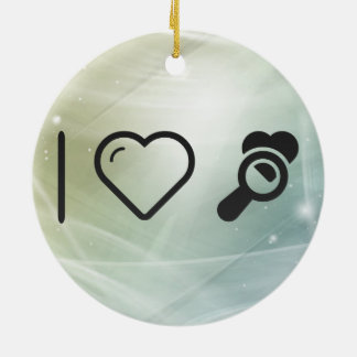 I Heart Magnifying Glass Double-Sided Ceramic Round Christmas Ornament