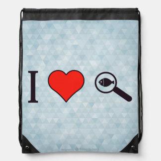 I Heart Magnifying Glasses Drawstring Bag